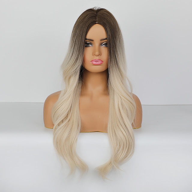Synthetic Wig Body Wave Deep Wave Deep Parting Wig Medium Length Brown / White Synthetic Hair 26 inch Women's Natural Fashion Ombre Hair Light Brown