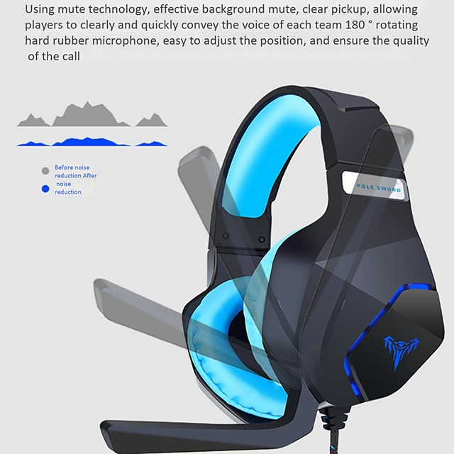 LITBest G600 Gaming Headset USB and 3.5mm Audio Cable with Inline Control Microphone for PC Computer PS4 Xbox