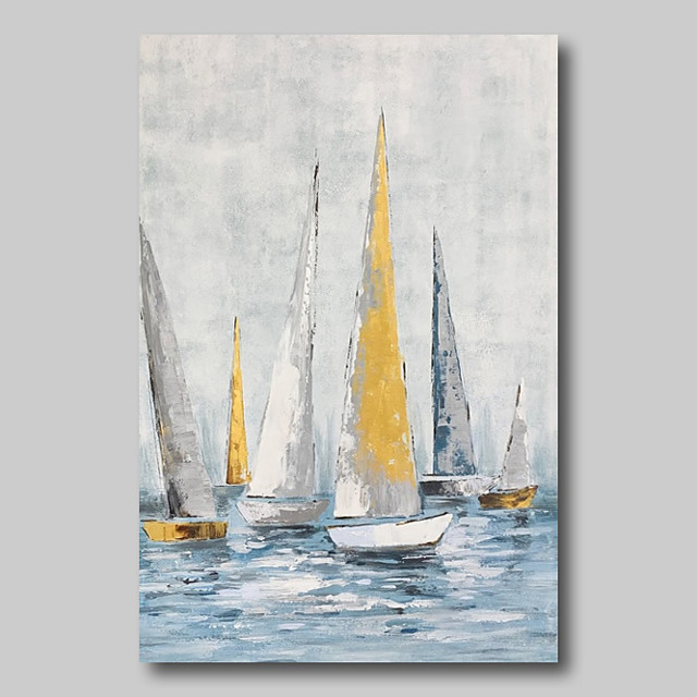 Oil Painting Hand Painted - Abstract Abstract Landscape Comtemporary Modern Rolled Canvas Sailboats