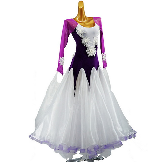 Latin Dance Dress Split Joint Girls' Training Daily Wear Long Sleeve Cotton