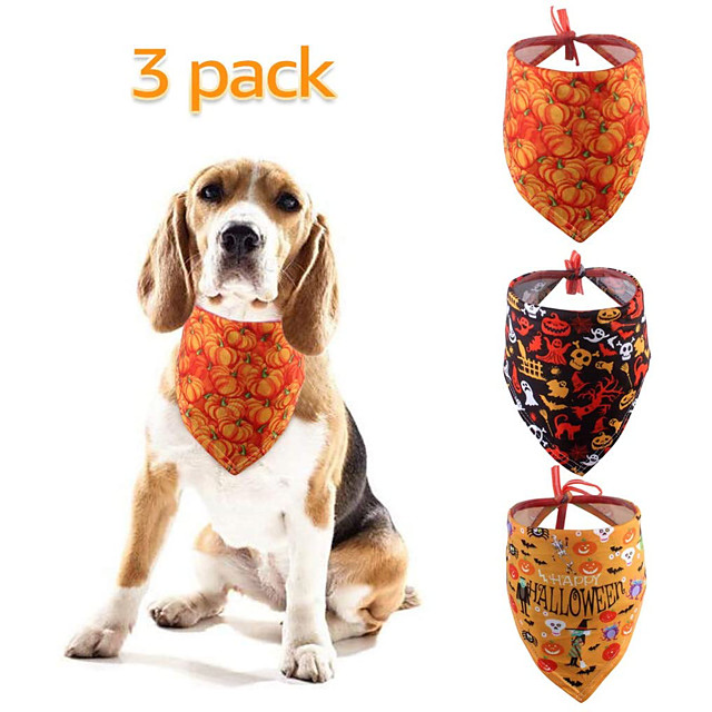 Dog Cat Bandanas & Hats Dog Bandana Dog Bibs Scarf Cartoon Letter & Number Casual / Sporty Cute Christmas Halloween Dog Clothes Adjustable Costume Polyster M