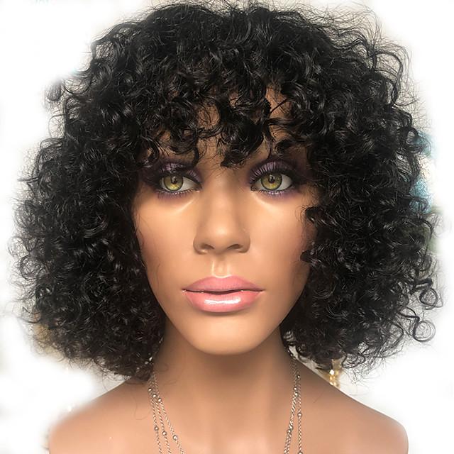 Human Hair 100% Hand Tied Wig With Bangs style Peruvian Hair Curly Natural Black Wig 150% Density Women Medium Size Natural Hairline For Black Women Women's Short Medium Length Human Hair Lace Wig