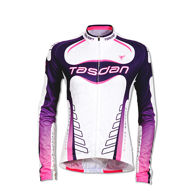 TASDAN Women's Long Sleeve Cycling Jersey Polyester White Patchwork Gradient Funny Bike Jersey Top Mountain Bike MTB Road Bike Cycling Breathable Quick Dry Reflective Strips Sports Clothing Apparel