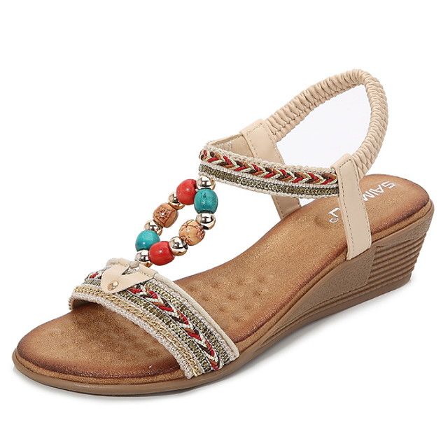 Women's Sandals Summer Wedge Heel Open Toe Daily PU Almond / Black / Blue