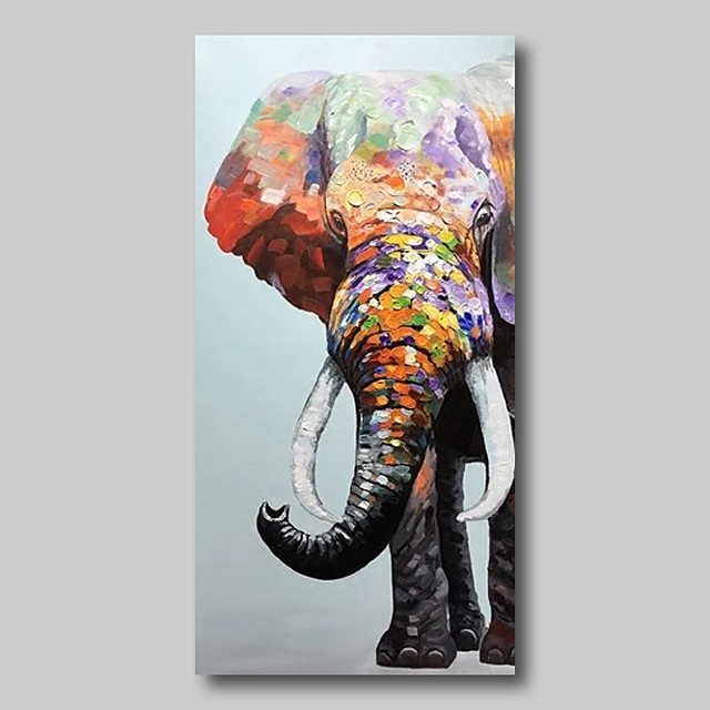 Oil Painting Hand Painted Abstract Abstract Landscape Comtemporary Modern Stretched Canvas Animals Elephant With Stretched Frame