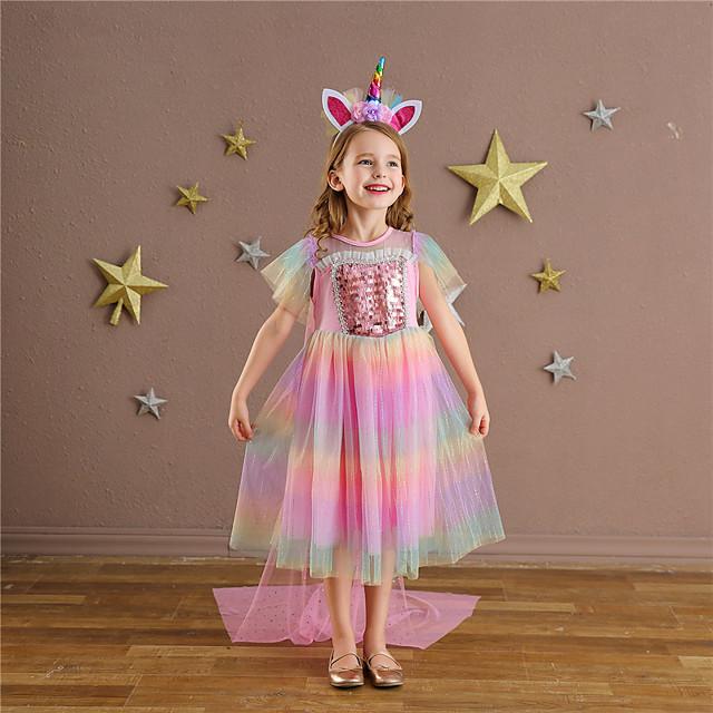 Princess Unicorn Dress Flower Girl Dress Girls' Movie Cosplay A-Line Slip Pink Dress Halloween Children's Day Masquerade Polyester