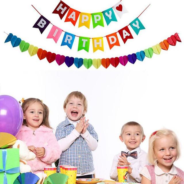 Birthday letter flag rainbow birthday party decoration birthday Letter pull Flag
