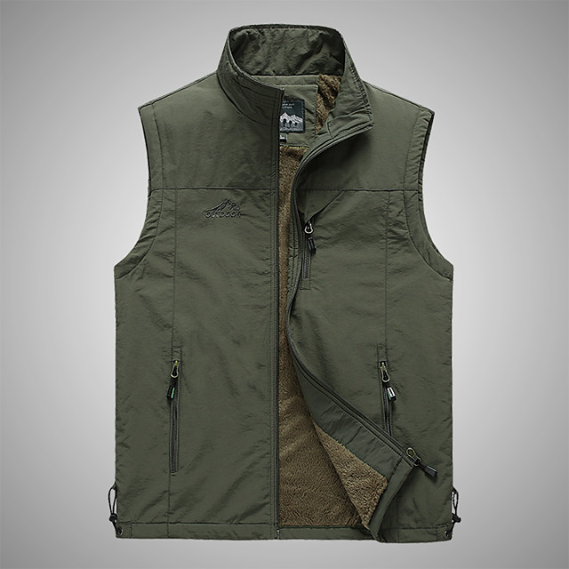 Men's Hiking Vest / Gilet Winter Outdoor Solid Color Windproof Breathable Warm Multi Pocket Top Camping / Hiking Hunting Fishing Black / Army Green / Khaki / Dark Blue