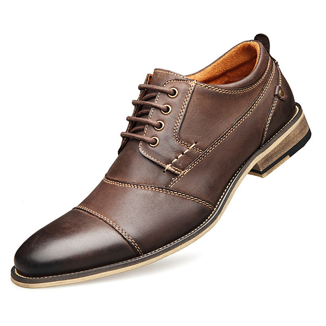 Men's Summer / Fall Casual / Preppy Daily Outdoor Oxfords Faux Leather Non-slipping Wear Proof Black / Brown / Coffee / Rivet