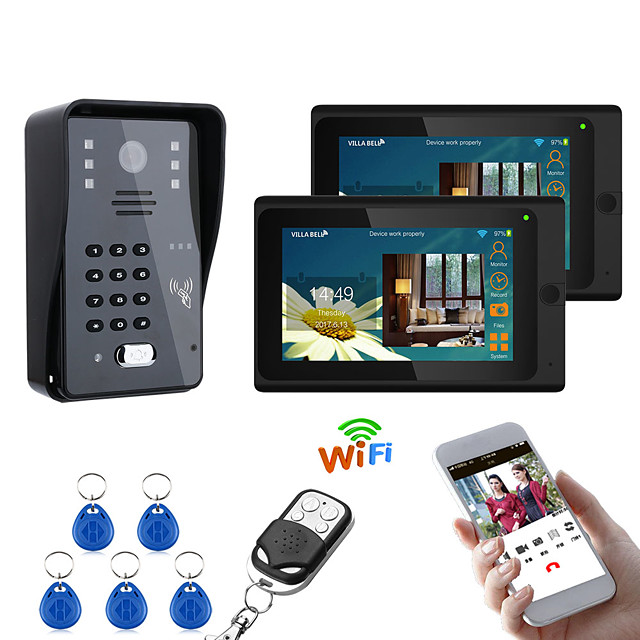 7inch 2 Monitors Wireless Wifi RFID Password Video Door Phone Doorbell Intercom Entry System With Wired IR-CUT  Wired Camera Night VisionSupport Remote APP UnlockingRecordingSnapshot