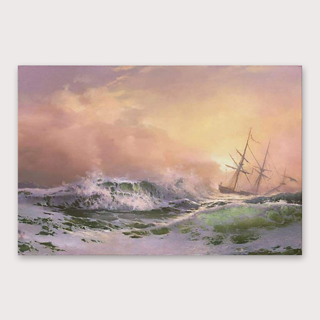 IARTS Hand Painted Strong wind and big waves Oil Painting with Stretched Frame For Home Decoration With Stretched Frame