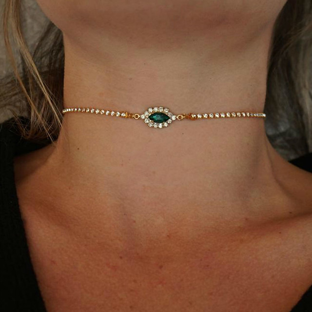 Women's Green Pink White Cubic Zirconia Choker Necklace Necklace Chunky Luxury European Zircon Alloy Blushing Pink Green 21-50 cm Necklace Jewelry For Party Evening Gift Masquerade Prom Festival