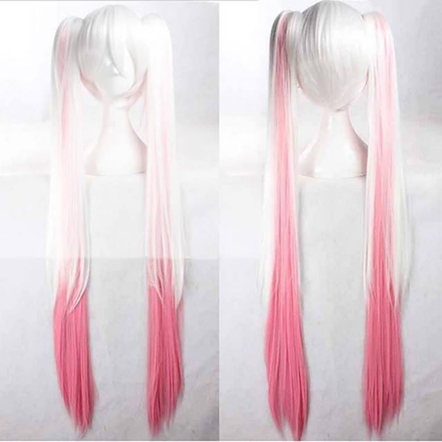 Cosplay Costume Wig Synthetic Wig Cosplay Wig Hatsune Miku Vocaloid Straight Cosplay With 2 Ponytails Wig Pink Very Long Blonde Grey Pink White Green Synthetic Hair 36 inch Women's Anime Cosplay Pink