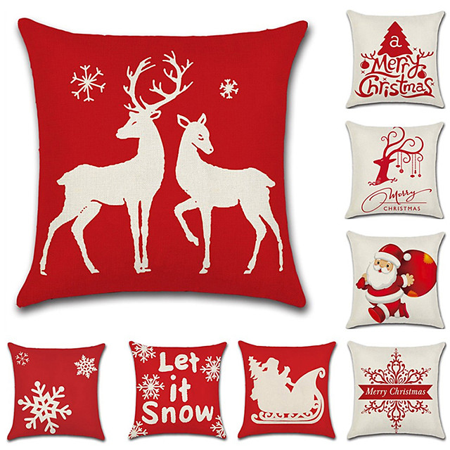 1 Set of 9 pcs Christmas Series  Decorative Linen Throw Pillow Cover 18 x 18 inches 45 x 45 cm