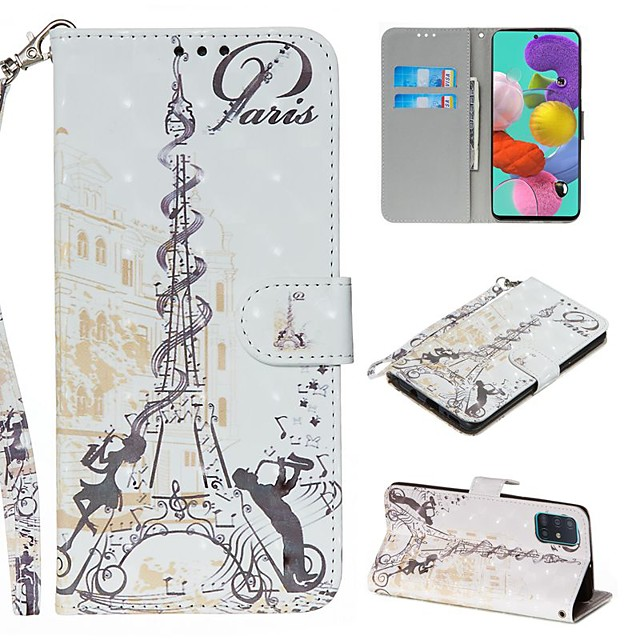 Case For Samsung Galaxy S20 Ultra Note 10 Plus S10E A51 A71 A20E Wallet Card Holder with Stand Full Body Cases Eiffel Tower PU Leather Galaxy A10 A20 A30 A30S A40 A50 A50S A70 A80 A90 A2 Core