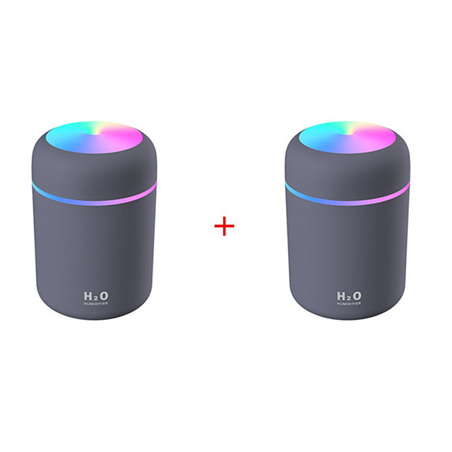 2pcs Portable 300ml Humidifier USB Ultrasonic Dazzle Cup Aroma Diffuser Cool Mist Maker Air Humidifier Purifier with Romantic Light