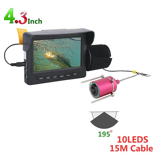 15M 1200TVL Fish Finder Underwater Fishing Camera 4.3 Inch Monitor 10PCS LED Night Vision 195 Degrees Camera For Fishing