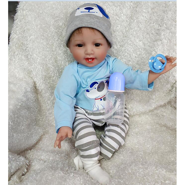 NPKCOLLECTION 22 inch Reborn Doll Reborn Toddler Doll Baby Boy Baby Girl Safety Gift Cute Cloth 3/4 Silicone Limbs and Cotton Filled Body with Clothes and Accessories for Girls' Birthday and Festival