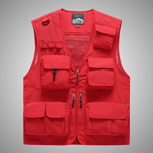 Men's Hiking Vest / Gilet Summer Outdoor Solid Color Windproof Breathable Multi-Pocket Multi Pocket Top Camping / Hiking Hunting Fishing Black / Red / Army Green / Orange / Khaki