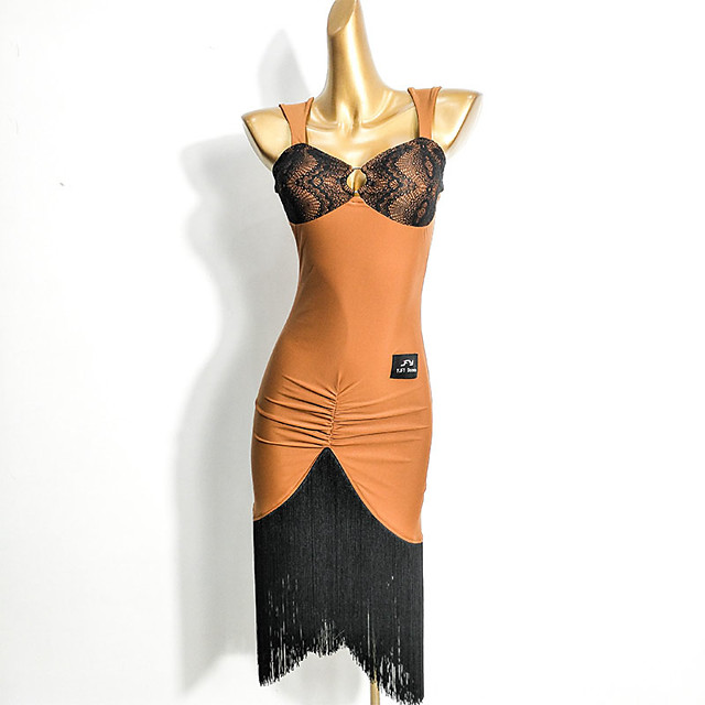 Latin Dance Dress Tassel Split Joint Women's Training Performance Sleeveless Elastane