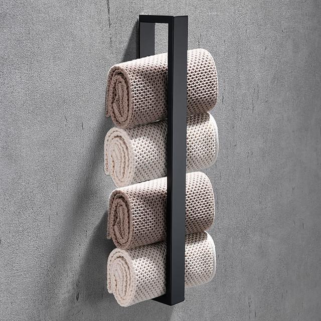 16-дюймовый держатель для полотенец из нержавеющей стали, самоклеящийся настенный, современный стиль, аксессуары для ванной комнаты, полотенцесушитель, нержавеющий, 4 цвета, матовый черный, матовый, полированный