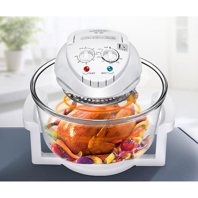 Halogen Oven Air Fryer Max 12L 1300-Watt Electric Hot Air Fryers Oven & Oilless Cooker for Roasting Grill Nonstick Rotating Control Electric Cut-Off Handle Borosilicate Glass with Manuel Book