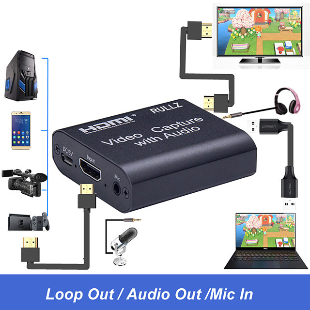 4K HDMI Video Capture Card 3.5mm Audio Output Mic Input Recorder Device Box Game Broadcast Live Streaming Capture Card Support USB2.0 USB 3.0  Plug and Play No Driver Needed