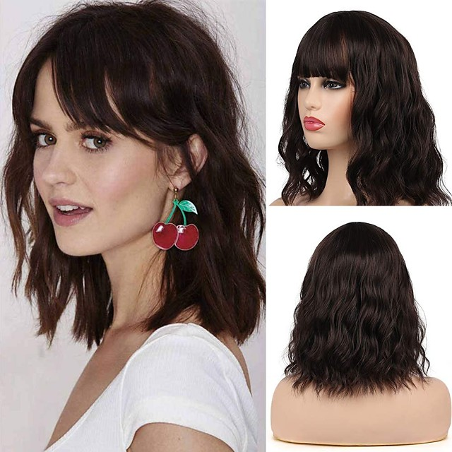 Synthetic Wig Curly With Bangs Wig Medium Length Brown Synthetic Hair 12 inch Women's Party New Arrival Fashion Brown