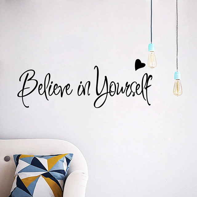 Believe Words Quotes Wall Stickers Decorative Wall Stickers PVC Home Decoration Wall Decal Wall Decoration 1pc