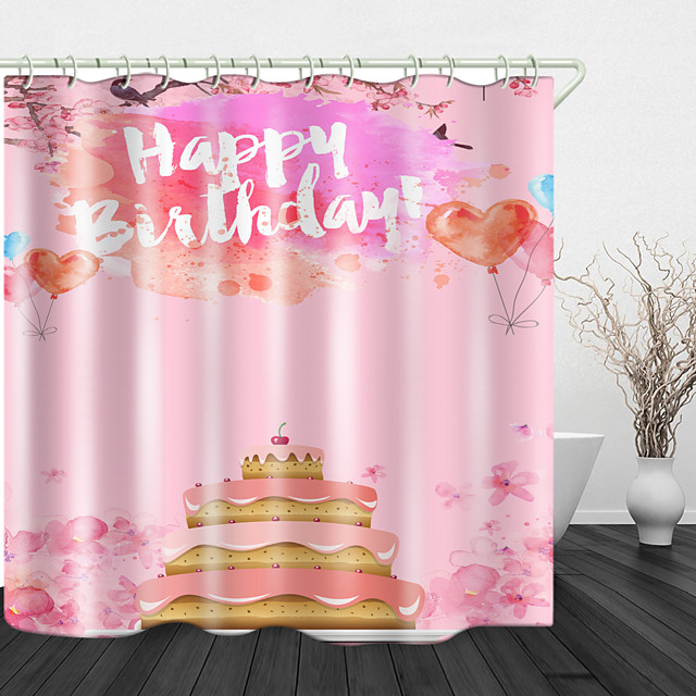 Birthday Cake Digital Print Waterproof Fabric Shower Curtain For Bathroom Home Decor Covered Bathtub Curtains Liner Includes With Hooks