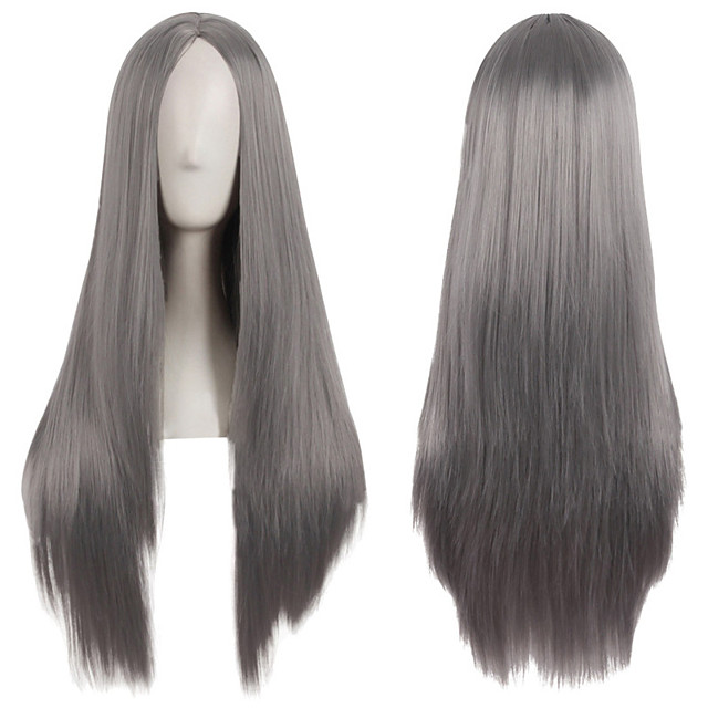 Synthetic Wig Natural Straight Middle Part Wig Long Brown Blonde Grey Pink Green Synthetic Hair 28 inch Women's Creative Party Fashion Brown Gray