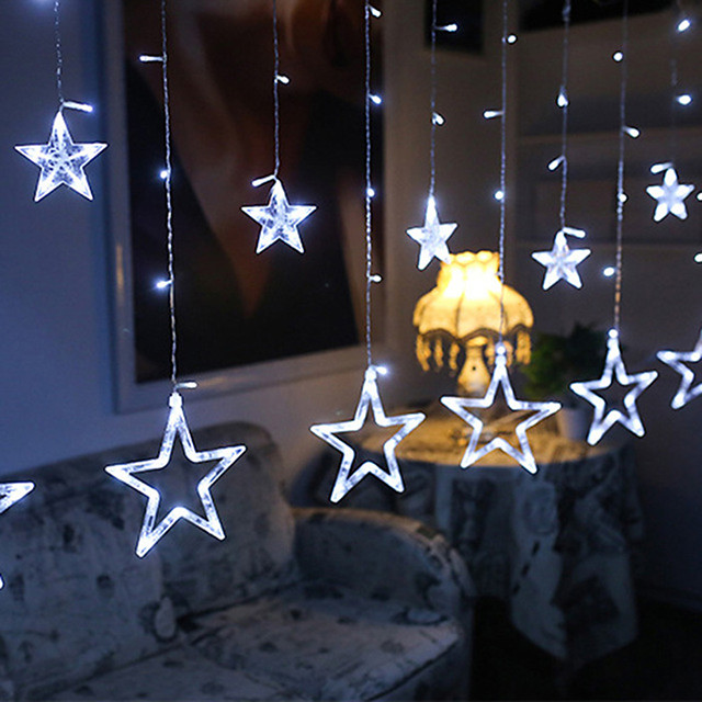 12 Stars Curtain String Lights  2.5M  216 LEDs  3 Colors Available Waterproof Creative Christmas Wedding Decoration Can Be Connected in Series  Garden Yard Decoration Lamp Night Light 110-120 V 1 set