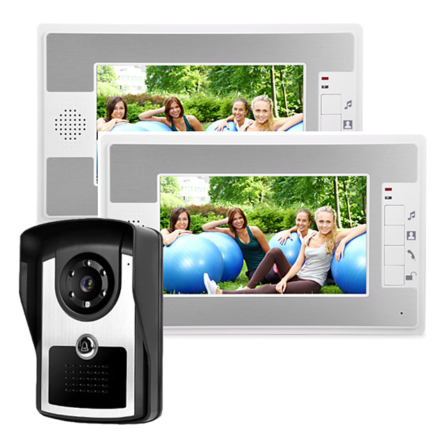 Wired 7 inch Video Doorphone Intercom System with Infrared Night Vision Camera Unlock Fuction
