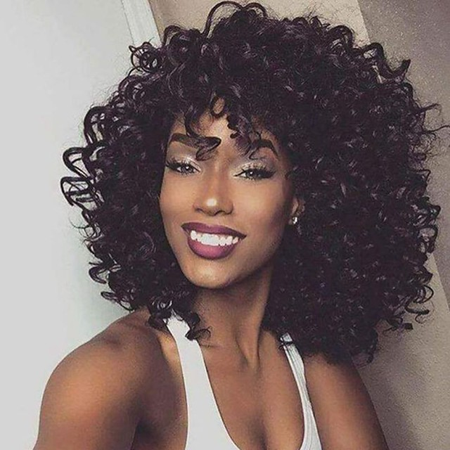 Synthetic Wig Afro Curly Asymmetrical Wig Long Brown Synthetic Hair 16 inch Women's Fashionable Design Exquisite Fluffy Black