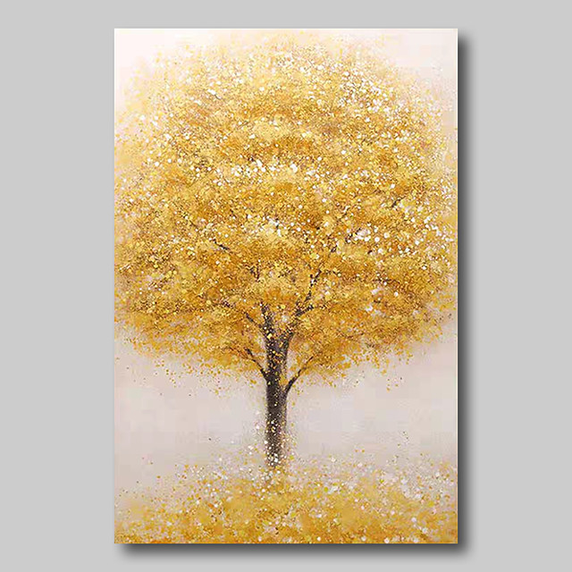 Oil Painting Hand Painted - Abstract Abstract Landscape Comtemporary Modern Stretched Canvas Beige Trees
