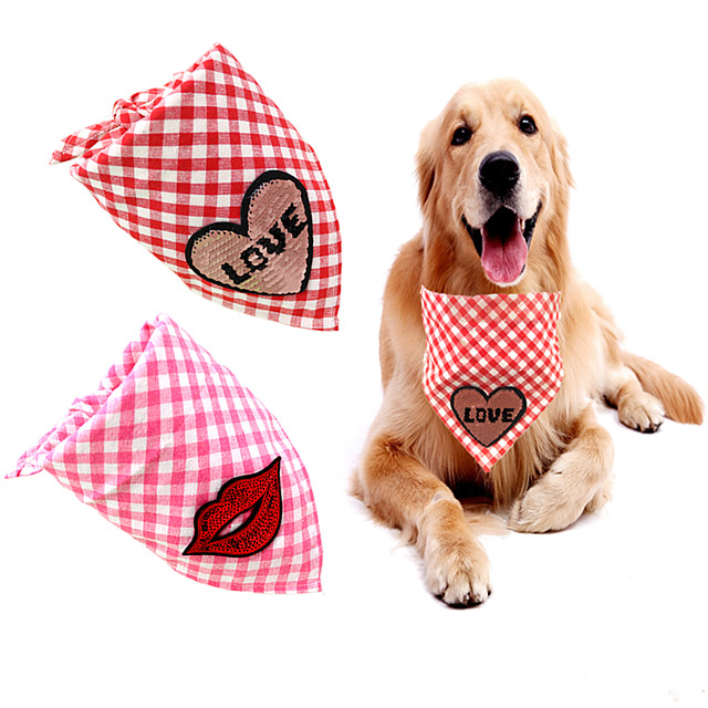 Dog Cat Bandanas & Hats Dog Bandana Dog Bibs Scarf Plaid / Check Letter & Number Party Cute Wedding Party Dog Clothes Adjustable Pink Costume Fabric