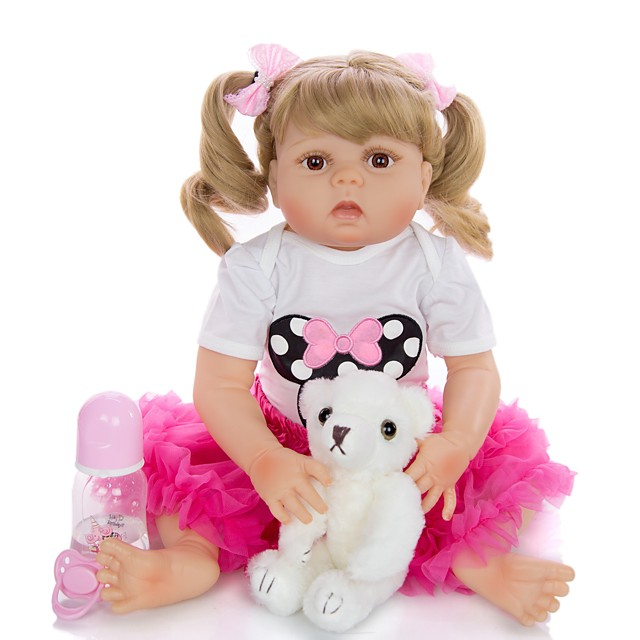KEIUMI 22 inch Reborn Doll Baby & Toddler Toy Reborn Toddler Doll Baby Girl Gift Cute Washable Lovely Parent-Child Interaction Full Body Silicone 23D31-C107-H13-T19 with Clothes and Accessories for