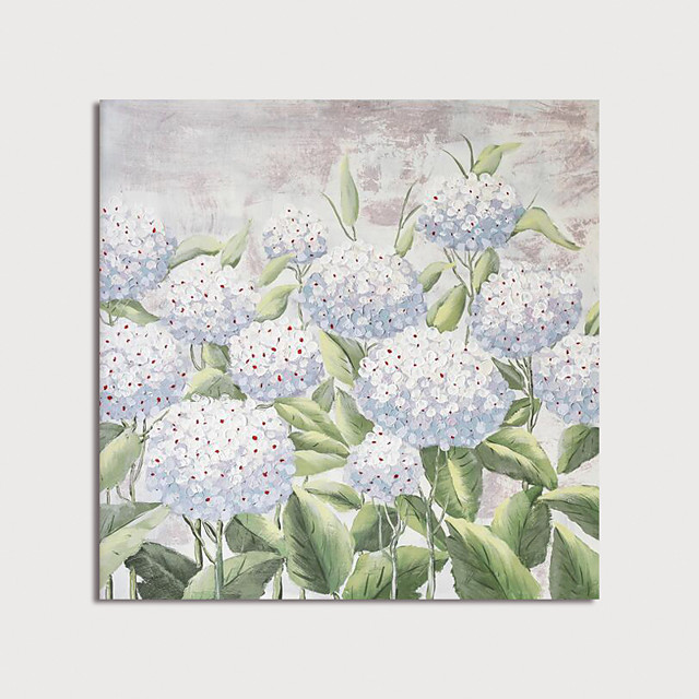 Hand Painted Canvas Oilpainting Abstract Impression White Flowers Home Decoration with Frame Painting Ready to Hang