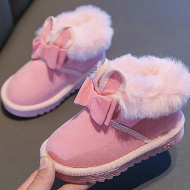 Girls' Comfort Faux Fur Flats Little Kids(4-7ys) Black / Red / Pink Summer