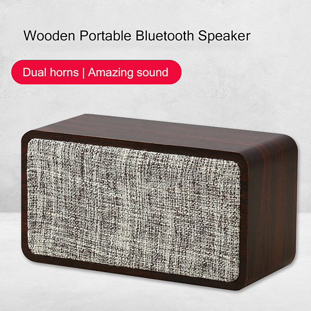 Q2 Bluetooth Speaker Cloth Wooden 1200mAh Dual Horn 6W Wireless Subwoofer Portable Bass Column Home Living Speakers