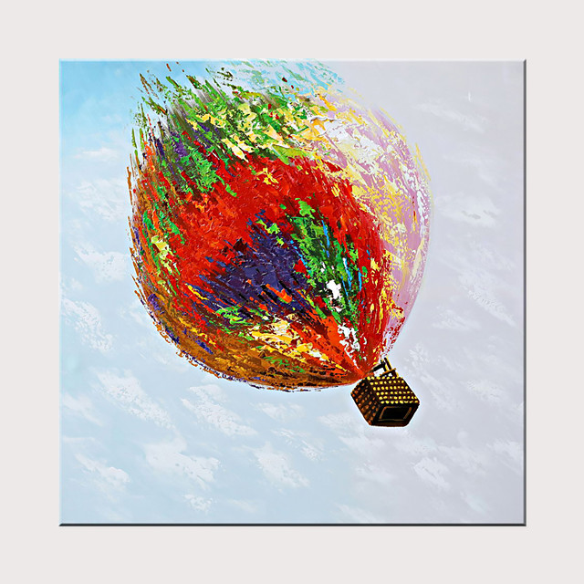 100% Hand-Painted Oil Painting Modern Art Hot Air Ballon Rolled Canvas Is Suitable For Home Decoration