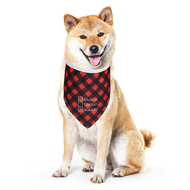 Dog Cat Bandanas & Hats Dog Bandana Dog Bibs Scarf Plaid / Check Letter & Number Casual / Sporty Cute Party Sports Dog Clothes Adjustable Red Costume Cotton Polyster