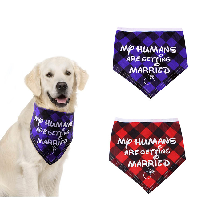 Dog Cat Bandanas & Hats Dog Bandana Dog Bibs Scarf Plaid / Check Letter & Number Casual / Sporty Cute Christmas Wedding Dog Clothes Adjustable Costume Cotton Polyster M