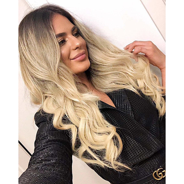 Synthetic Wig Wavy Middle Part Wig Long Ombre Blonde Synthetic Hair 20 inch Women's Party Classic Comfortable Ombre / Ombre Hair
