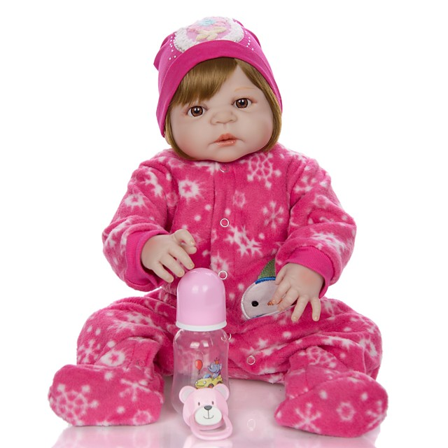 KEIUMI 22 inch Reborn Doll Baby & Toddler Toy Reborn Toddler Doll Baby Girl Gift Cute Washable Lovely Parent-Child Interaction Full Body Silicone KUM23FS01-WLW40 with Clothes and Accessories for