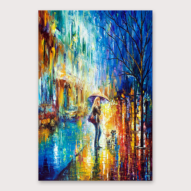 IARTS®Hand Painted Streetscape Oil Painting   with Stretched Frame For Home Decoration