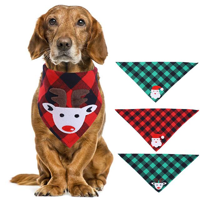 Dog Cat Bandanas & Hats Dog Bandana Dog Bibs Scarf Plaid / Check Cartoon Reindeer Party Cute Christmas Party Dog Clothes Adjustable Costume Fabric L