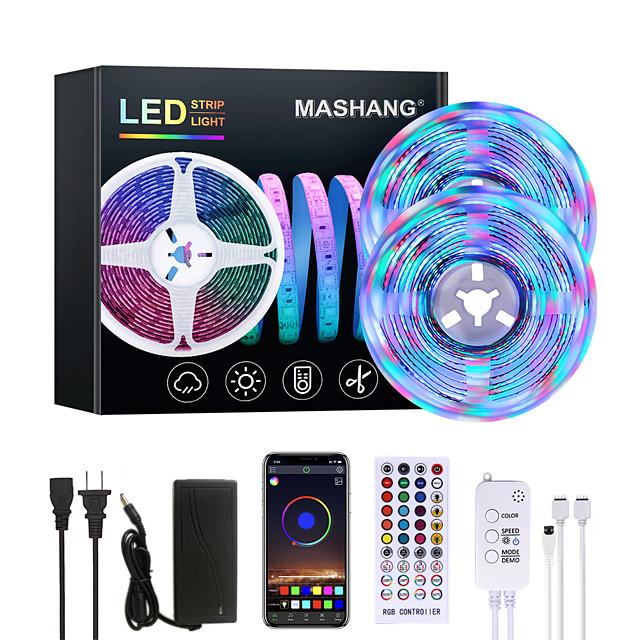 MASHANG 32.8ft 10M Bright RGBW LED Strip Lights Music Sync Smart LED Tiktok Lights 2340LEDs SMD 2835 Color Changing with 40 keys Remote Bluetooth Controller for Home Bedroom TV Back Lights DIY Deco