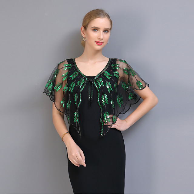 Short Sleeve Capes POLY Wedding / Party / Evening Women's Wrap With Pattern / Paillette