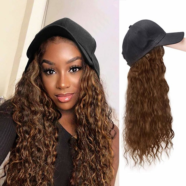 Synthetic Wig Wavy With Ponytail Wig Long Light Brown Brown Black Synthetic Hair 22 inch Women's Party New Arrival Fashion Brown